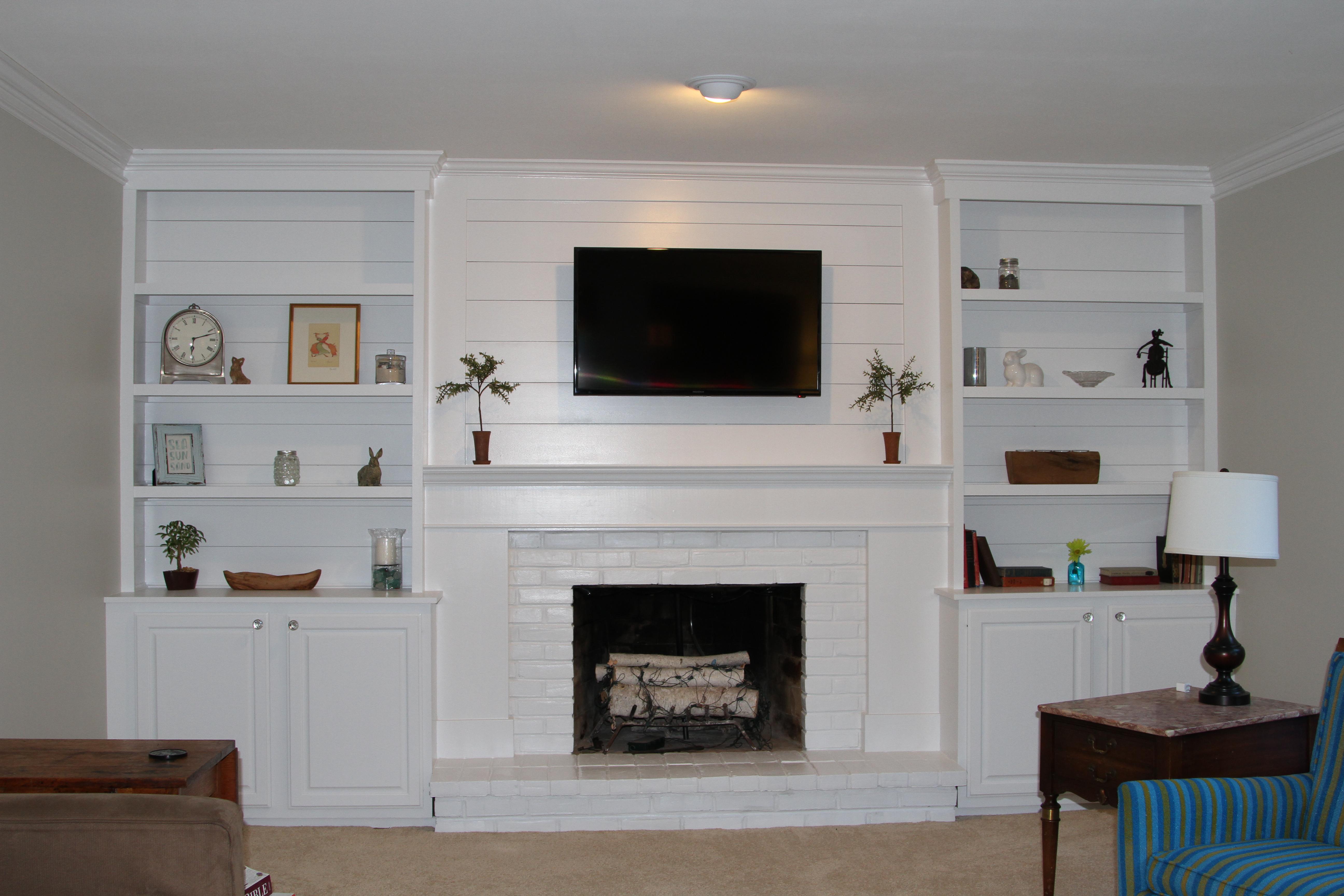 Shiplap Builtins Around Tv And Fireplace Amber Tiller